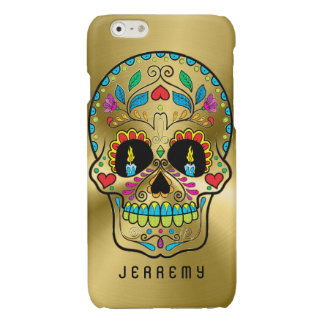 Colorful Sugar Skull Metallic Gold Background Glossy iPhone 6 Case