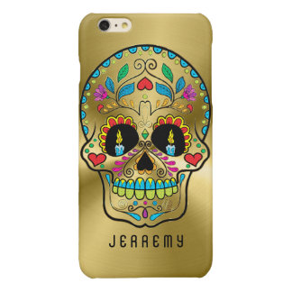 Colorful Sugar Skull Metallic Gold Background Glossy iPhone 6 Plus Case