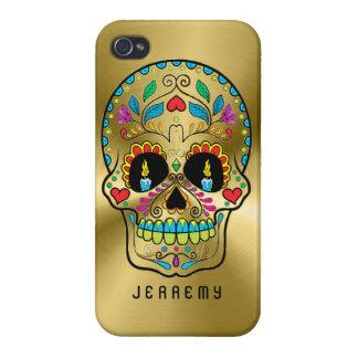 Colorful Sugar Skull Metallic Gold Background iPhone 4 Case
