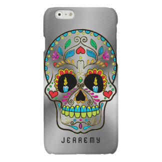 Colorful Sugar Skull Metallic Silver Background Glossy iPhone 6 Case