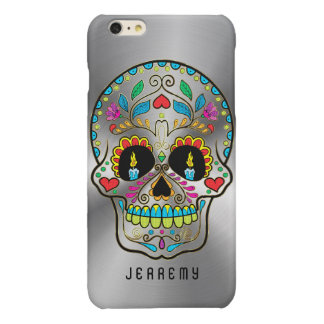 Colorful Sugar Skull Metallic Silver Background Glossy iPhone 6 Plus Case