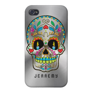 Colorful Sugar Skull Metallic Silver Background iPhone 4 Covers