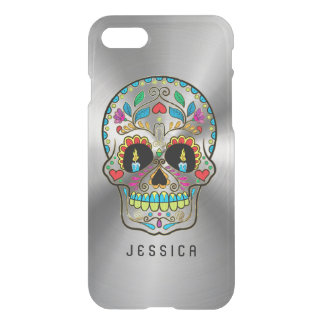Colorful Sugar Skull Metallic Silver Background iPhone 7 Case