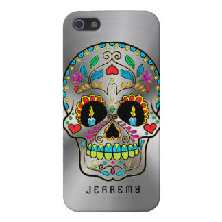 Colorful Sugar Skull Metallic Silver Background iPhone SE/5/5s Cover