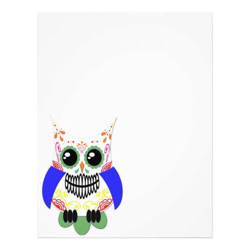 Colorful Sugar Skull Owl Flyer