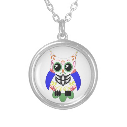 Colorful Sugar Skull Owl Necklace