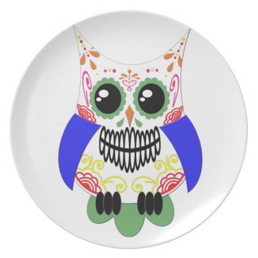 Colorful Sugar Skull Owl Plate