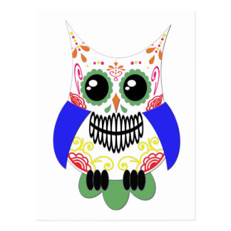 Colorful Sugar Skull Owl Postcard