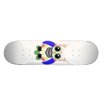 Colorful Sugar Skull Owl Skateboard