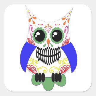 Colorful Sugar Skull Owl Sticker