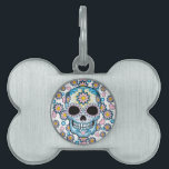 """Colorful Sugar Skull Pet Name Tag<br><div class=""""desc"""">Sugar skull designed hues of blue and pink is surrounded by colorful flowers and hearts.</div>"""