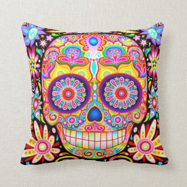 thaneeyamcardle Colorful Sugar Skull Pillow - Day of the Dead Art