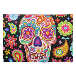 Colorful Sugar Skull Placemat - Day of the Dead