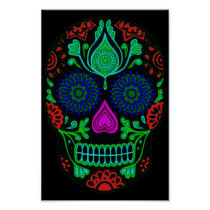 Colorful Sugar Skull Poster