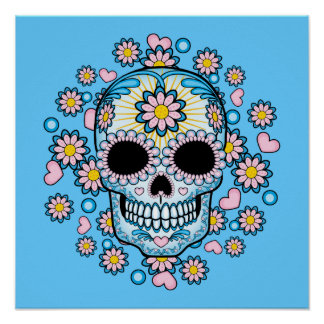 Colorful Sugar Skull Poster