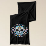 "Colorful Sugar Skull Scarf<br><div class=""desc"">Sugar skull is so colorful in hues of blue and pink with flowers.  Perfect to celebrate Dia de los Muertos (Day of the Dead).</div>"