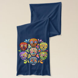 Colorful Sugar Skull Scarf - Groovy Psychedelic!