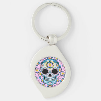 Colorful Sugar Skull Silver-Colored Swirl Metal Keychain