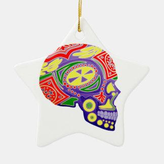Colorful Sugar Skull Skeleton Ceramic Ornament