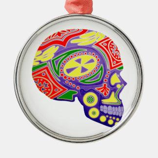 Colorful Sugar Skull Skeleton Metal Ornament
