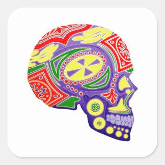 Colorful Sugar Skull Skeleton Square Sticker