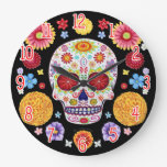 Colorful Sugar Skull Wall Clock - Day Of The Dead at Zazzle