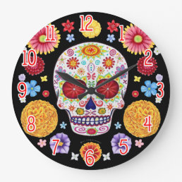 Colorful Sugar Skull Wall Clock - Day of the Dead