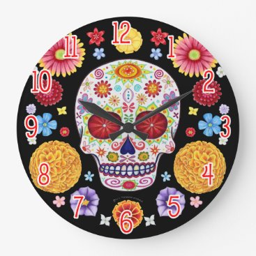 thaneeyamcardle Colorful Sugar Skull Wall Clock - Day of the Dead