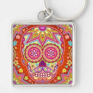 Colorful Sugar Skull with Mustache Keychain