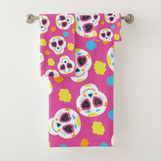 Colorful Sugar Skulls and Flowers on Pink Bath Towel Set