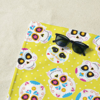 Colorful Sugar Skulls and Polka Dots on Yellow Beach Towel