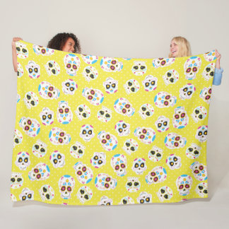 Colorful Sugar Skulls and Polka Dots on Yellow Fleece Blanket