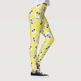 Colorful Sugar Skulls and Polka Dots on Yellow Leggings