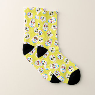 Colorful Sugar Skulls and Polka Dots on Yellow Socks