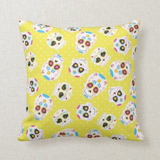 Colorful Sugar Skulls and Polka Dots on Yellow Throw Pillow