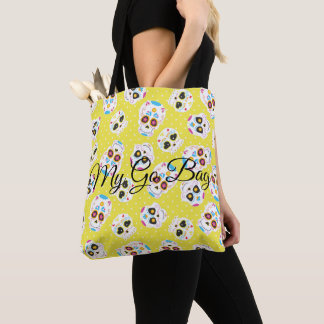 Colorful Sugar Skulls and Polka Dots on Yellow Tote Bag