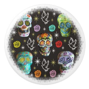 Halloween Themed Colorful Sugar Skulls Ceramic Knob