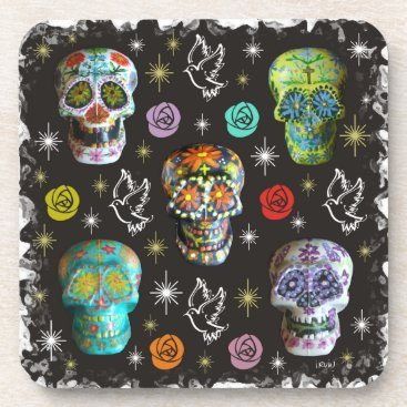 Halloween Themed Colorful Sugar Skulls Coaster