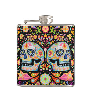 Colorful Sugar Skulls Flask - Day of the Dead Art