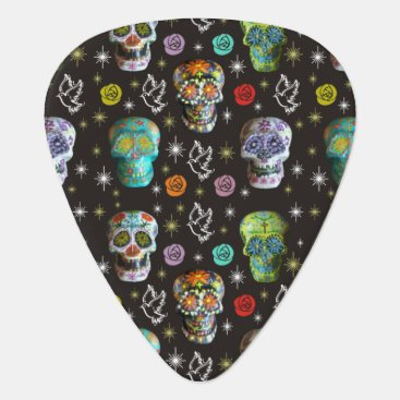 Halloween Themed Colorful Sugar Skulls Guitar Pick