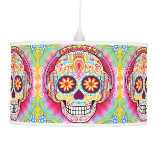 Colorful Sugar Skulls Hanging Pendant Lamp