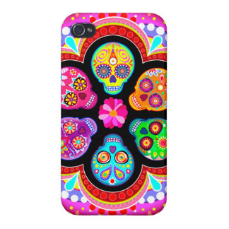 Colorful Sugar Skulls iPhone 4 Case by Case Savvy