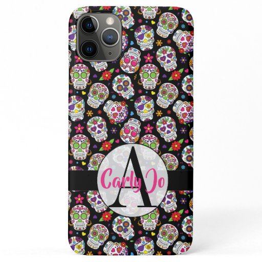 Colorful Sugar Skulls Monogrammed & Personalized iPhone 11 Pro Max Case