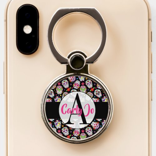 Colorful Sugar Skulls Monogrammed & Personalized Phone Case