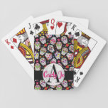 "Colorful Sugar Skulls Monogrammed &amp; Personalized Playing Cards<br><div class=""desc"">Colorful Sugar Skulls Monogrammed and Personalized Playing Cards.  Easy To Change The Monogram Initial and Name To Your Own.  Click Customize To Change The Font Type,  Font Color,  Font Size,  Or To Add/Delete/Change The Text Or Design Elements.</div>"
