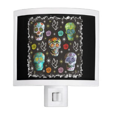 Halloween Themed Colorful Sugar Skulls Night Light