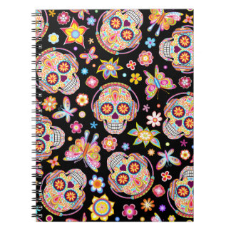 Colorful Sugar Skulls Notebook Day of the Dead