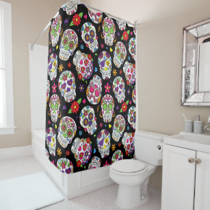 Colorful Sugar Skulls On A Black Background Shower Curtain