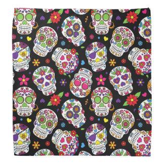 Colorful Sugar Skulls On Black Bandana