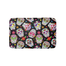 Colorful Sugar Skulls On Black Bathroom Mat